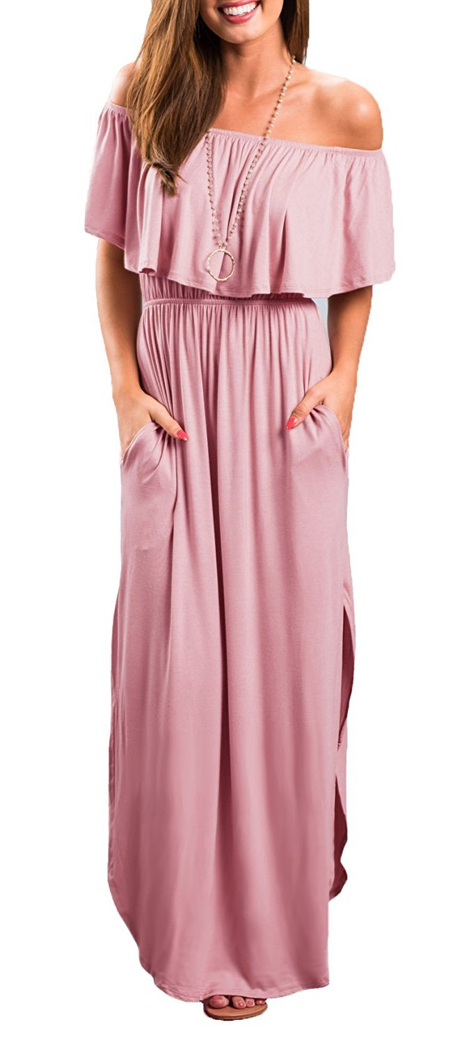 LILBETTER Womens Off The Shoulder Empire Waist Maxi Dresses Long Dresses with Pockets