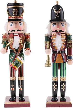 30cm Bois Casse-noisette Soldat Figurine Marionnette Peint à la Main