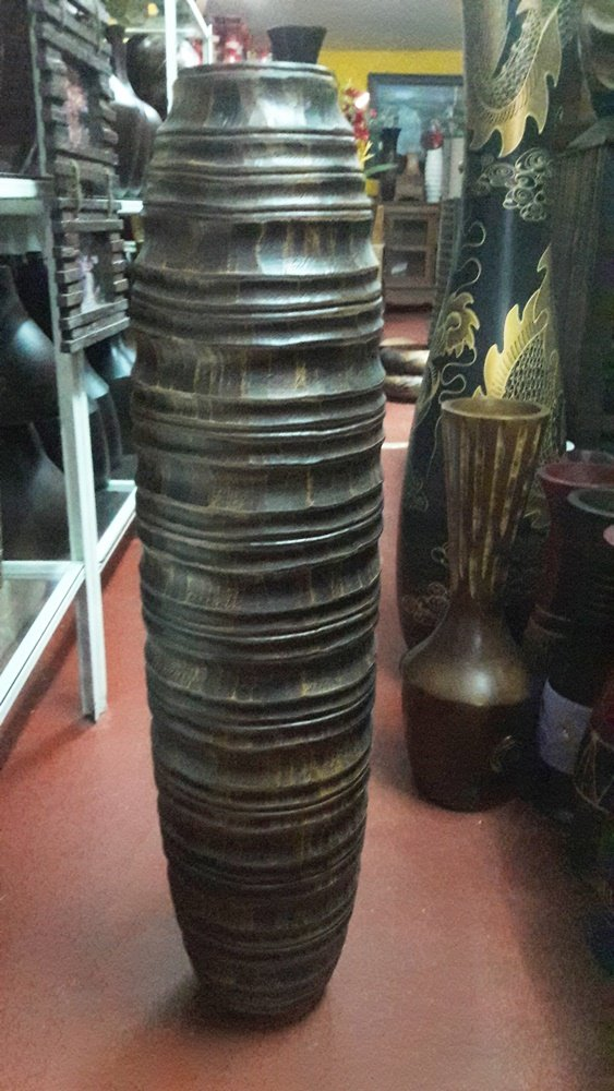 Thailand : Tall 30 inches, Tall brown wood vases,by Skilled Technicians (No 03) From Thailand.