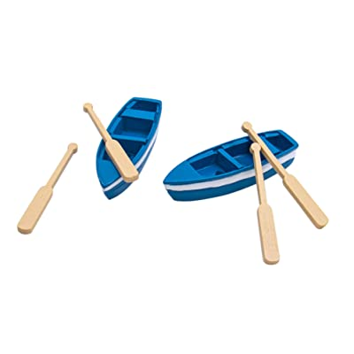 AUEAR, Set of 2 Lovely Miniature Rowboat Mini Blue Wood Boat Little Resin Boat for Fairy Garden Home Decoration: Home & Kitchen