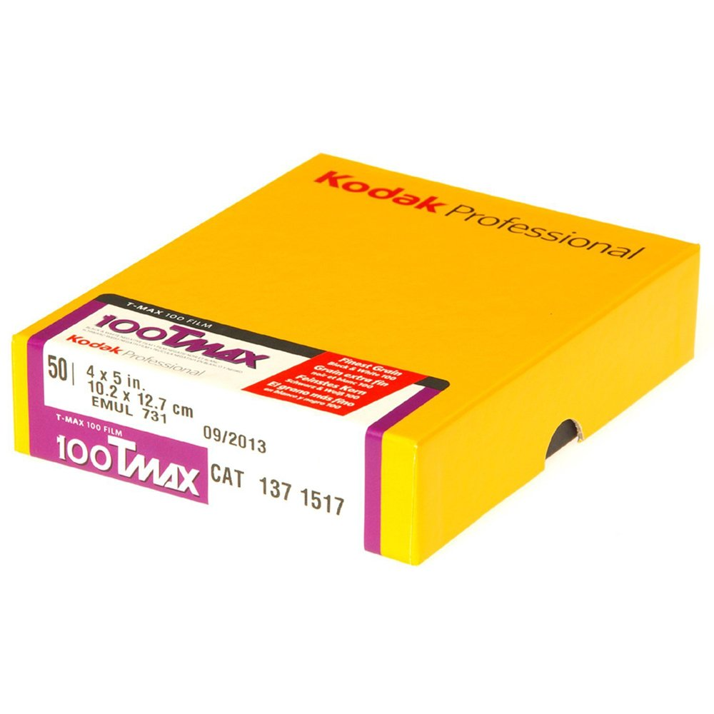 Kodak 137 1517 Professional 100 Tmax Black and White Negative Film ISO 100, 4 x 5-Inch, 50-Sheets (Yellow)