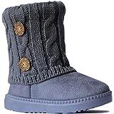 REDVOLUTION Kids Boots Toddler Girls Cute 2 Buttons Suede Knitting Shoe