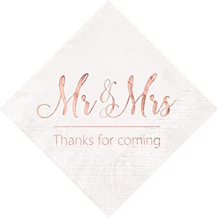 Crisky Wedding Napkins Mr Mrs Rose Gold Cocktail Beverage Dessert Napkins  for Wedding Tabel Decoration Engagement Party Supplies, 8 Pcs, 8-Ply