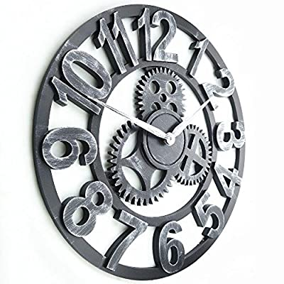 "16"" Round Wall Clock, Antique Handmade Wooden Vintage 3D Gear Design, By Chevy K."