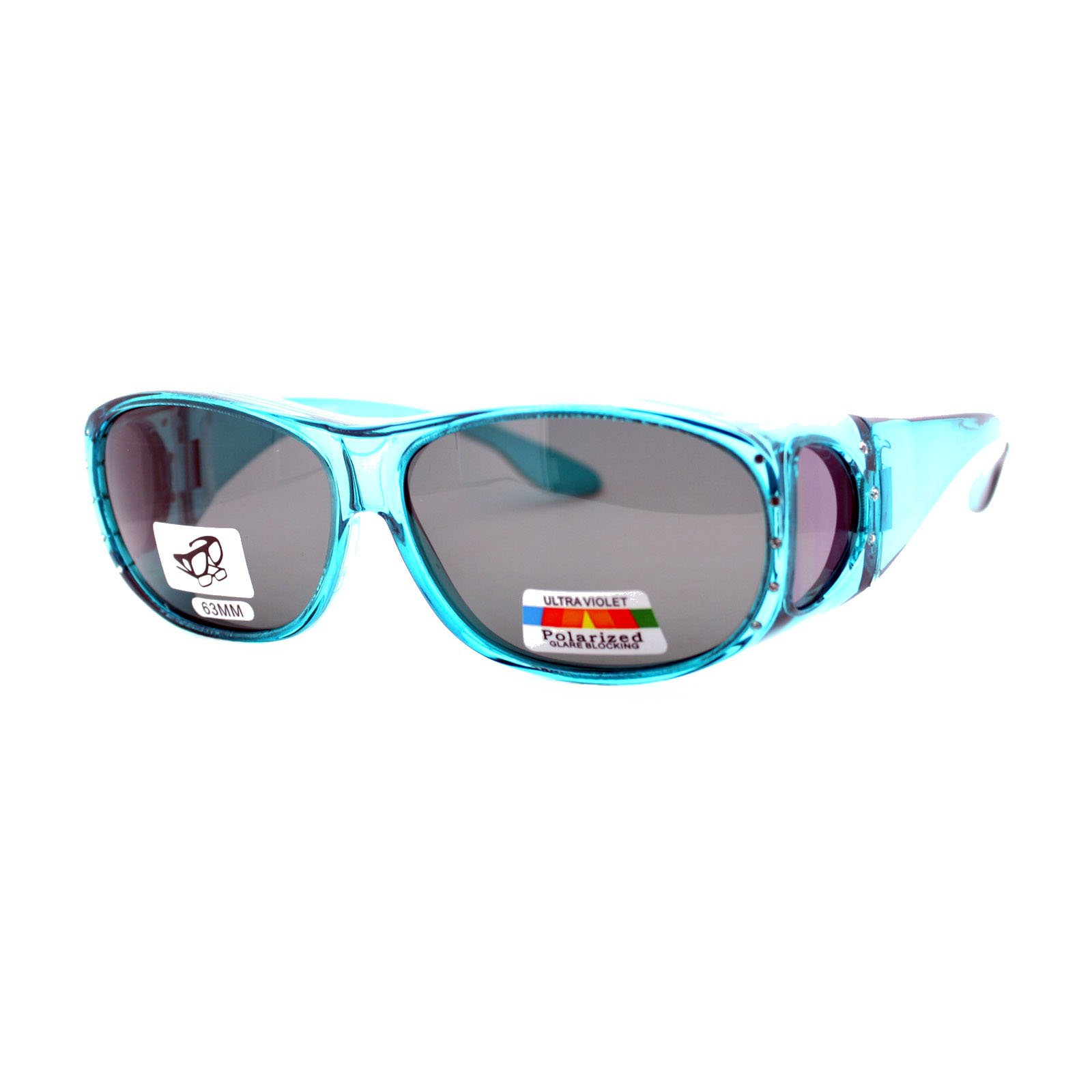 Womens Polarized Fit Over Glasses Rhinestone Sunglasses Oval Rectangular Teal by PASTL (Image #1)