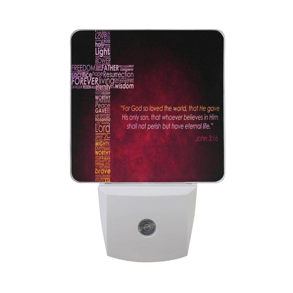 LEDVIE Christ Christian Cross Plug in Dusk to Dawn Light Sensor LED Night Light Wall Light for Bedroom, Baby's Kids Room,Hallway, Stairs, Energy Efficient
