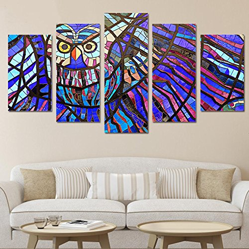 [Small] Premium Quality Canvas Printed Wall Art Poster 5 Pieces / 5 Pannel Wall Decor Glass Owl Painting, Home Decor Pictures - With Wooden Frame