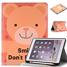 JiiJian iPad Pro 10.5 Case for Women, iPad 10.5 PU Leather Case,Smart Stand Cover with Pencil Holder,Slim Lightweight Shell Stand Protective Case - Small Bear