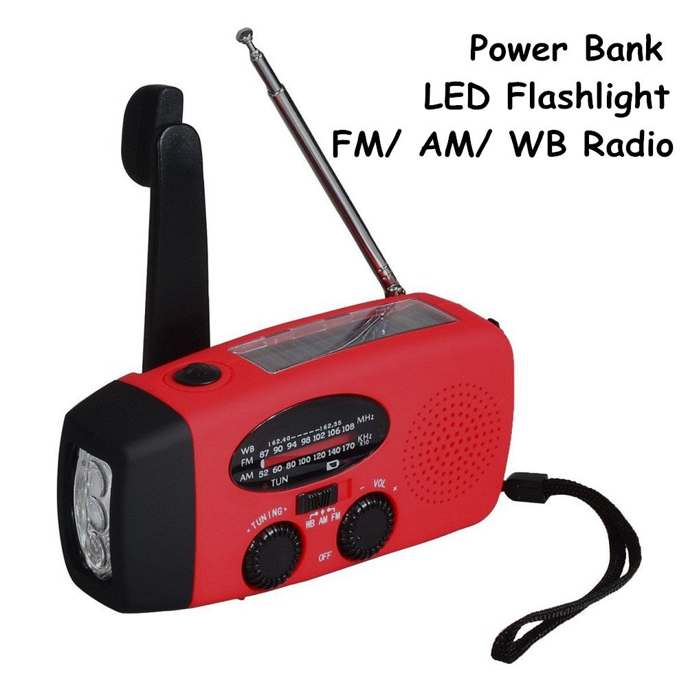 Wristel Emergency Solar Hand Crank Self Powered AM FM WB NOAA Weather Radio LED Flashlight Smart Phone Charger 1000mAh Power Bank