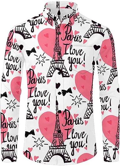 Howley Mens Summer Fashion Casual Button Print Lapel Trend Long Sleeve Shirt Top