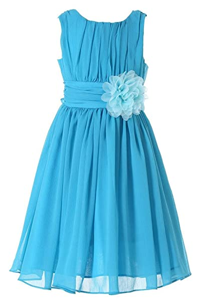 Happy Rose – Vestido de gasa para niña con flor azul aguamarina 3