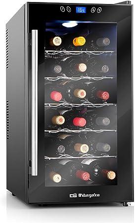 Orbegozo VT 1860 - Vinoteca 18 botellas, volumen de 52 litros, 5 estantes, puerta con tirador INOX, control de temperatura electrónico, luz LED interior, display digital y panel de control táctil