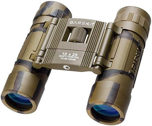 BARSKA Binoculars AB10119 10×25 Lucid View, Camo, Compact, Blue Lens, Clam