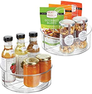 "mDesign Plastic Lazy Susan Spinning Food Storage Turntable for Cabinets, Pantry, Refrigerator, Countertops, Kitchen - Portable Spinning Organizer for Spices, Condiments, 9"" W, 2 Pack - Clear"