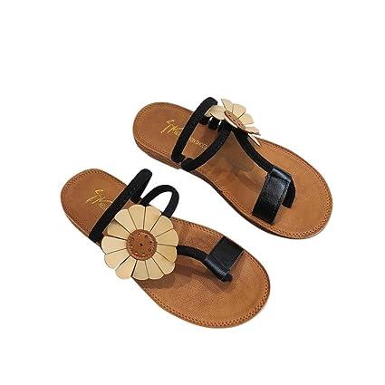 79a7d8750 Amazon.com  Hemlock Sunflower Flip Flops Women Beach Slipper Flat ...