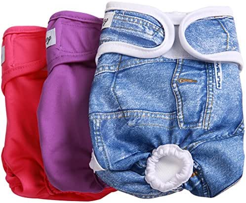 JoyDaog(3 Pack Small Dog Diapers for Female Washable Premium Dog Wrap M