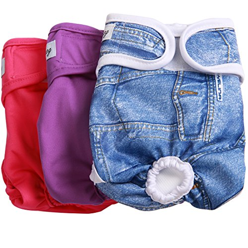 - JoyDaog(3 Pack Small Dog Diapers for Female Washable Premium Dog Wrap M