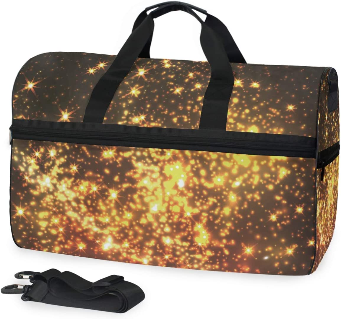AHOMY Golden Stars Sports Gym Bag with Shoes Compartment Travel Duffel Bag