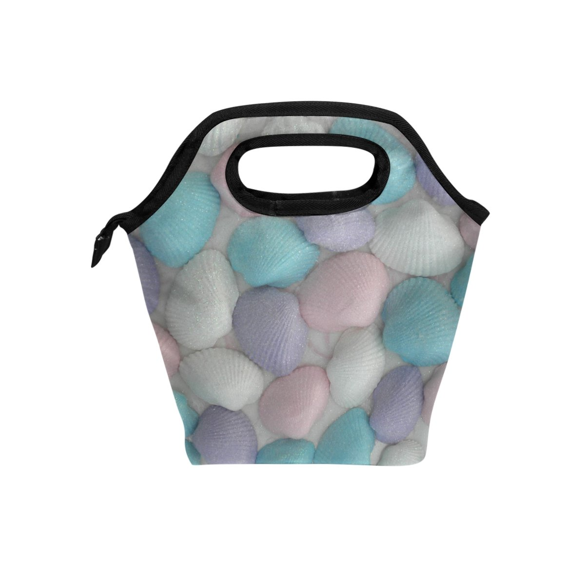 JSTEL Seashells - Bolsa de almuerzo, bolsa de almuerzo, contenedor de alimentos, gourmet, bento, bento, bolsa de refrigeración, bolsa caliente para viajes, picnic, escuela, oficina bolsa de refrigeración
