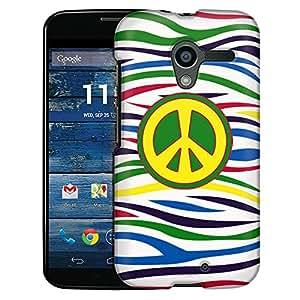 Motorola Moto X Case, Slim Fit Snap On Cover by Trek Peace on Colorful Zebra White Case