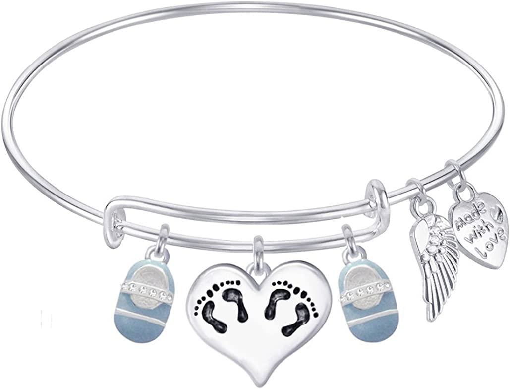 Baby Girl Footprint Angel wing Mom of an angel charm bracelet-Angel baby bootie