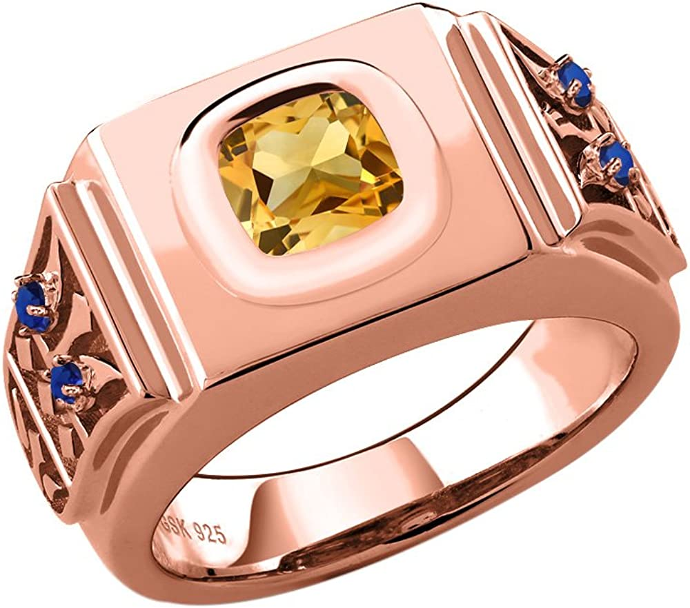 Gem Stone King 3.04 Ct Yellow Citrine Simulated Sapphire 18K Rose Gold Plated Silver Mens Ring Available 8,9,10,11,12,13 Available in,9,10,11,12,13