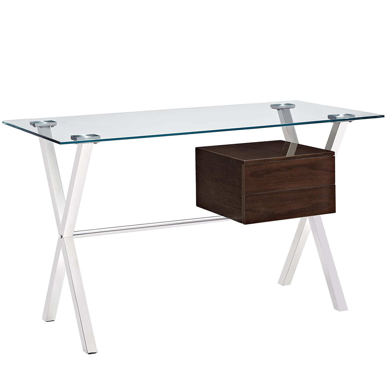 Stainless steel office desk Glass Top Pinterest Amazoncom Modway Stasis Office Desk Walnut Kitchen Dining