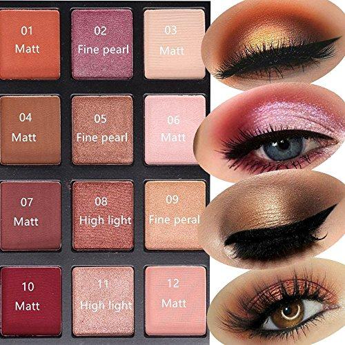Eyeshadow Makeup Palette, DE'LANCI Shimmer + Matte 12 Colors - Highly Pigmented - Nude Warm Natural Eye Shadow Powder Waterproof Eye Shadows Set