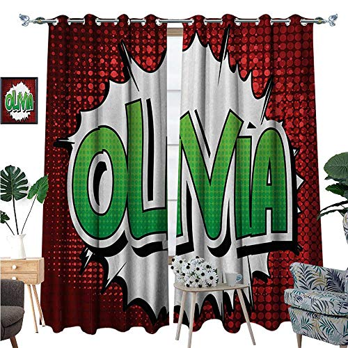 Olivia Waterproof Window Curtain Retro Comic Book Burst with Common Women`s Given Name Teenager Design Blackout Draperies for Bedroom W96 x L84 Ruby Green and White