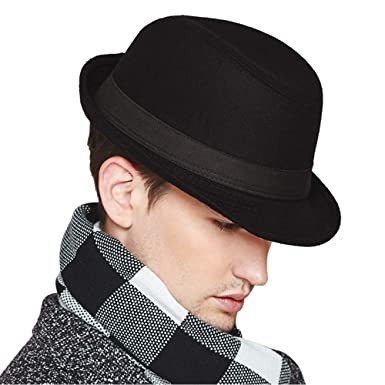 0d8a7f6f Erigaray Mens Classic Wool Felt Fedora Hats for Men in Black,Grey,Dark Brown
