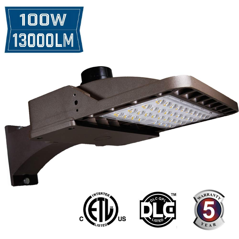 100W LED Shoebox Pole Light 13000lm 5000k Outdoor Waterproof Direct Wiring AC100-277V,Street Parking Lot Lights,Super Bright Arm Mounted ETL and DLC Listed,Waterproof IP65
