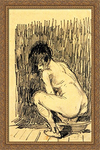 Nude Woman Squatting Over a Basin 26x40 Large Gold Ornate Wood Framed Canvas Art by Vincent van Gogh