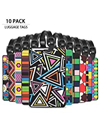 Luggage Tags Business Card Holder - Wonder4 Cool Luggage Tag Personalized Bright Color Mosaic Pattern Durable Travel ID Holder for Suitcase Sports Bags,Set of 10