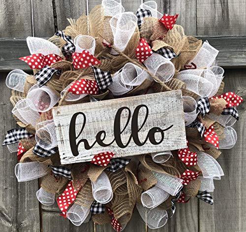 Rustic Hello Wreath Rustic Decor Welcome Door Hanger Farmhouse Decor Burlap Bowtique (Wreath Burlap Christmas)