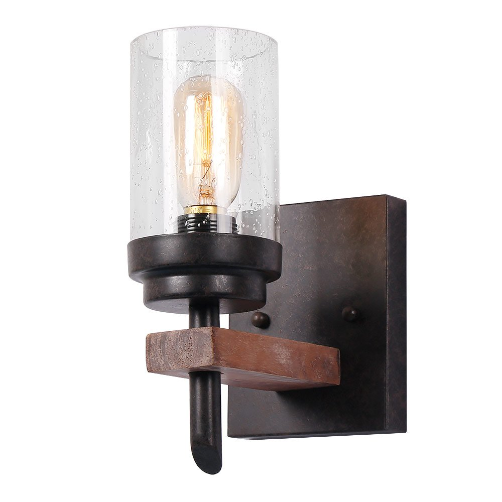 Eumyviv Rustic Wood Wall Sconce With Seeded Glass Shade