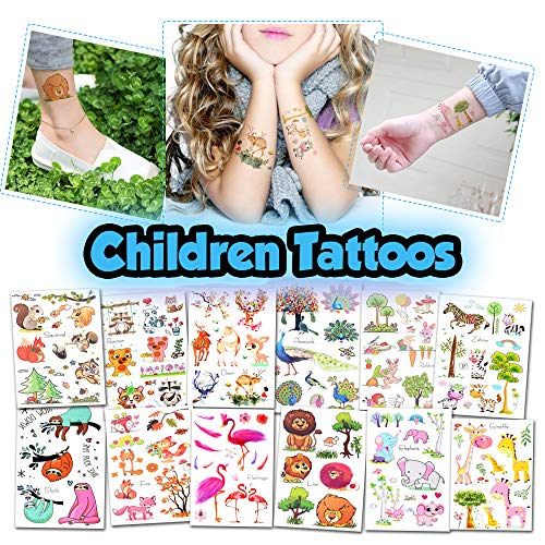 Kids Temporary Tattoos - More Than 100 Easy-to-Use Tattoos for Children (Animal Tattoos - 12 Sheets) -