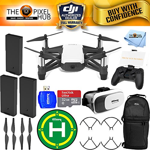DJI Tello Quadcopter Drone with HD Camera and VR - by Ryze Tech and Intel Processor (3 Battery (Total) Bundle, with Remote)