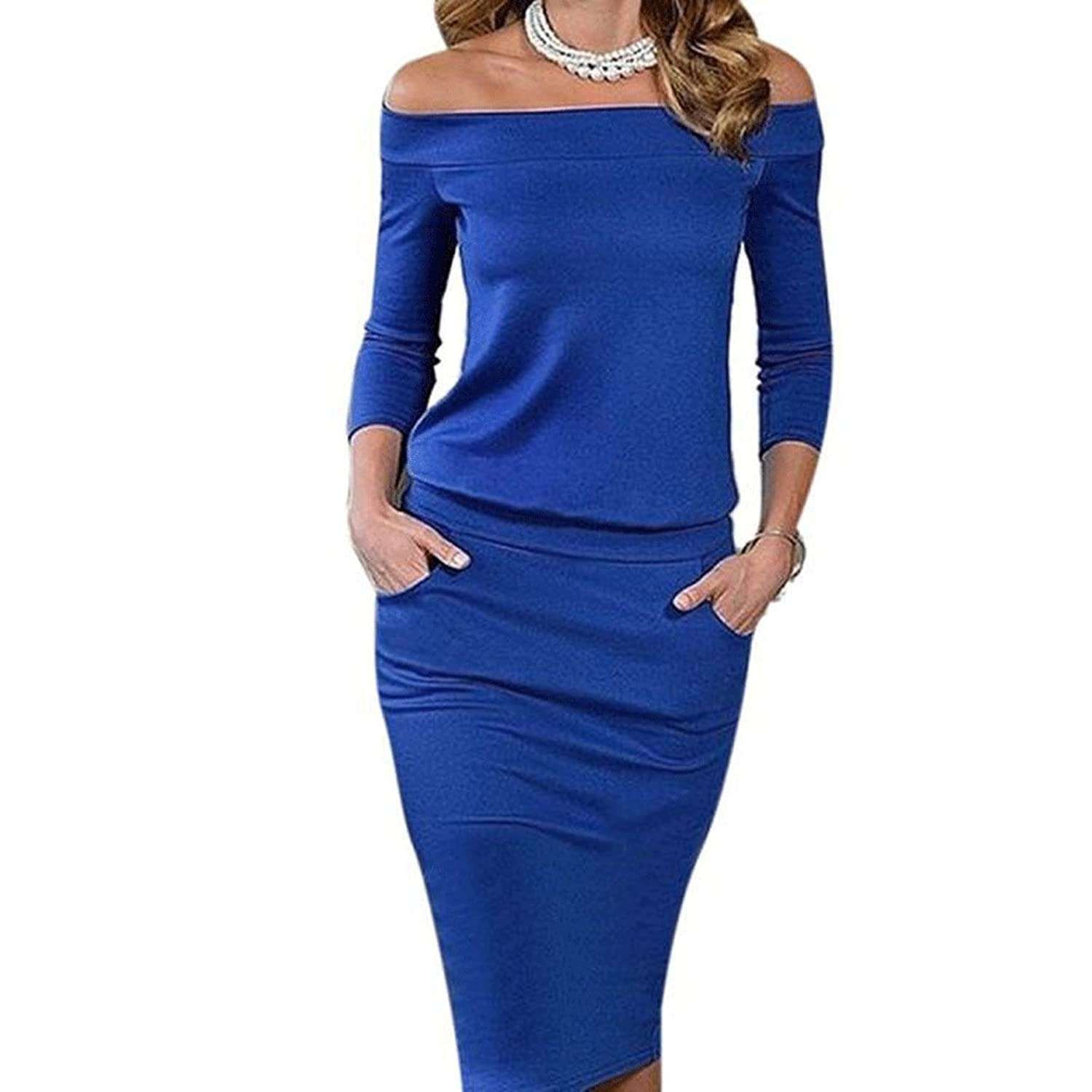 Donalworld@ Women Bandage Bodycon Long Sleeve Evening Sexy Party Cocktail Dress Blue