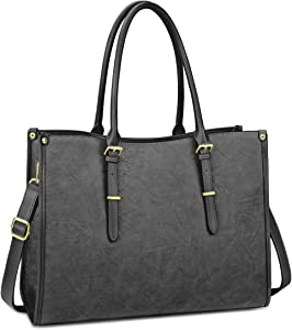 Laptop Bag for Women 15.6 Inch Waterproof Lightweight Leather Laptop Tote Bag Womens Professional Business Office Work Bag Briefcase Large Computer Bag Shoulder Handbag Gray