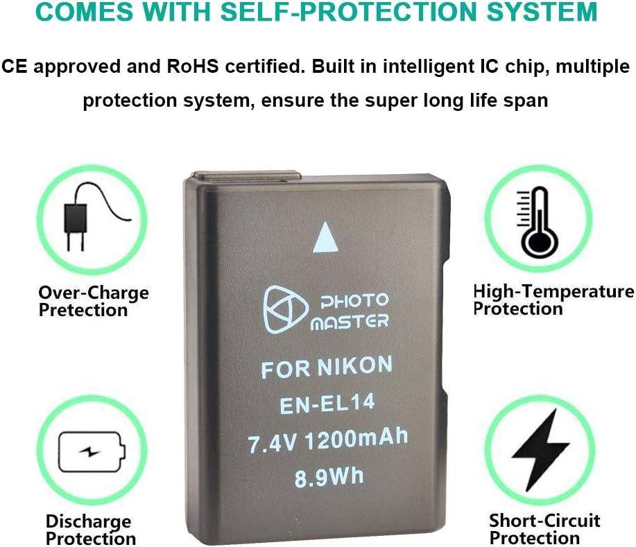 D320000 0 P7100 D311 00 D5500 y LCD doble cargador para Nikon Coolpix P7800 D5100 PHOTO MASTER 2 bater/ías de repuesto EN-EL14//EN-EL14a 1200 mAh P7000 D3500 D5300 D5200 Df D3300 P7700