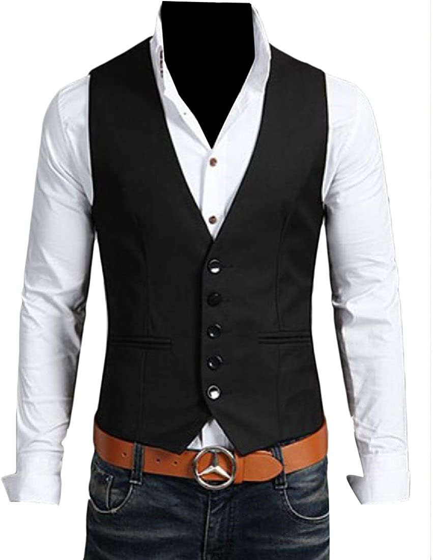 Coolred Mens Classic Work Solid Single Breasted Blazer Waistcoat