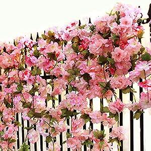 Turelifes 1 Pack 7.22 Feet/Piece Artificial Cherry Vines Hanging Flower Spray Arrangements Faux Garland Wreath Silk Flowers String Home Party Wedding Décor 107