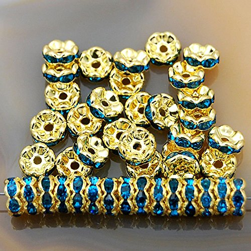 jennysun2010 Czech Crystal Rhinestone 18K Gold Plated 6mm Light Sapphire Round Rondelle Wavy Edge Spacer Beads 100pcs per Bag for Bracelet Necklace Earrings Jewelry Making Crafts Design