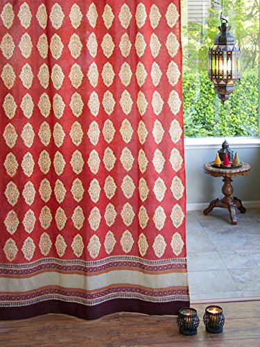 Saffron Marigold Spice Route Indian Curtain Panel | Sheer Cotton Voile Tab Top Curtains | Hand Printed Moroccan Boho Gypsy Vintage Ethnic Vibrant Window Treatment Drapes 46 x 84