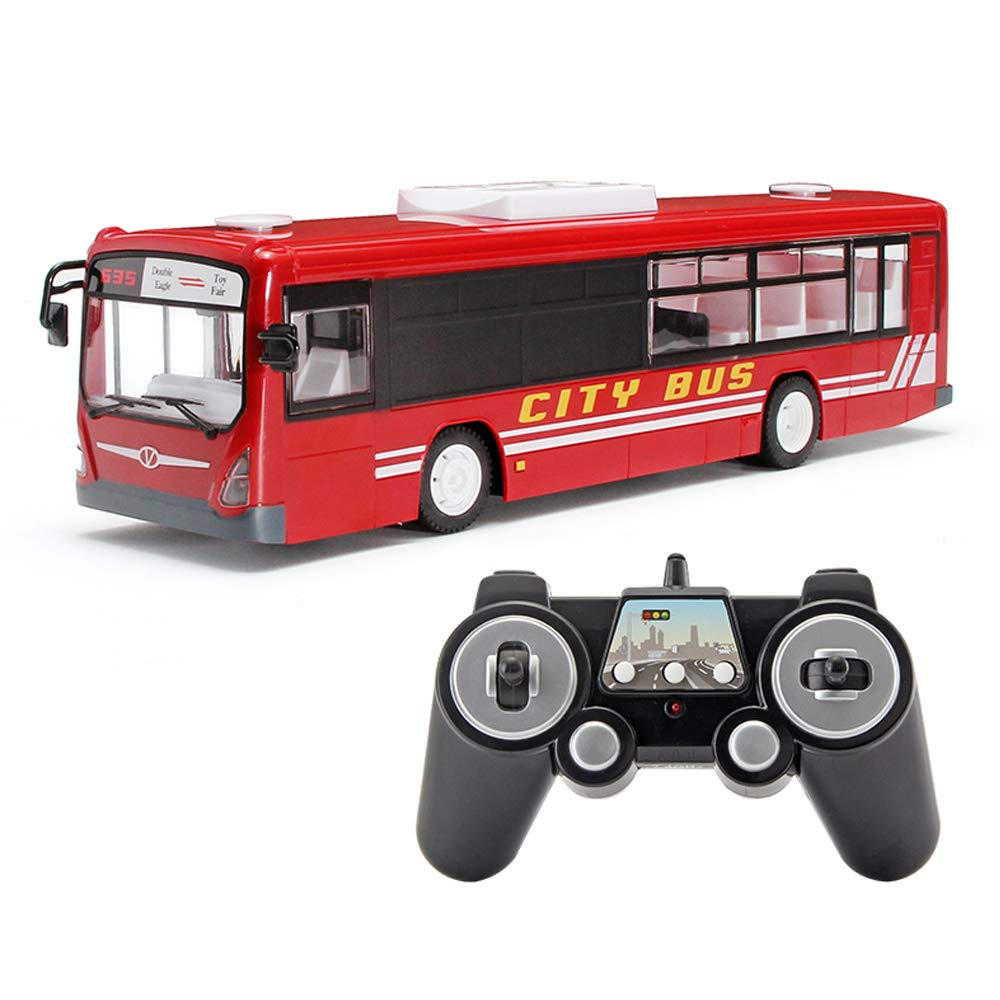 LXWM RC市バス2.4G RCバス、オープニングドアと現実的なサウンド6チャンネルリモコン市内バスエクスプレスバススクールバス子供のための充電式おもちゃ B07KYT5H4M Red