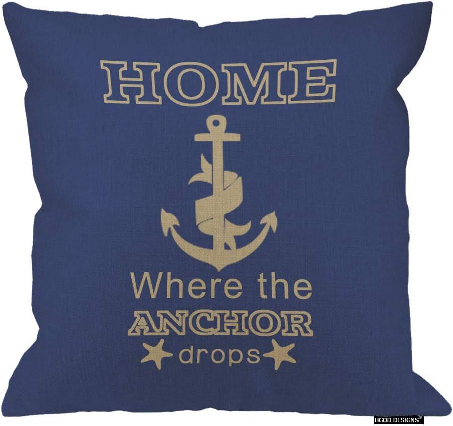 HGOD DESIGNS Cotton Linen Square Decorative Home is Where The Anchor Drops Nautical Quote Pillowcase 18 X 18 Inch