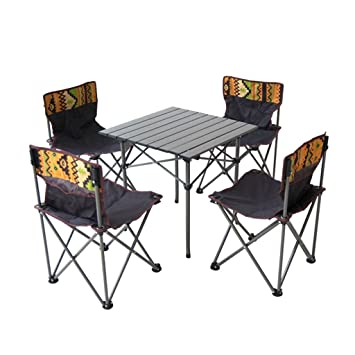 Folding table Mesa Plegable y Silla portátil Conjunto de Mesa Plegable de Aluminio Barbacoa para Acampar