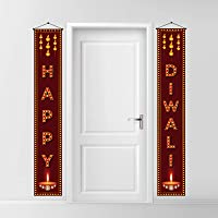 Vohado Happy Diwali Porch Banner Festival of Lights Wall Hanging Flags Oil Lamp Front Door Sign Home Farmhouse Holiday…