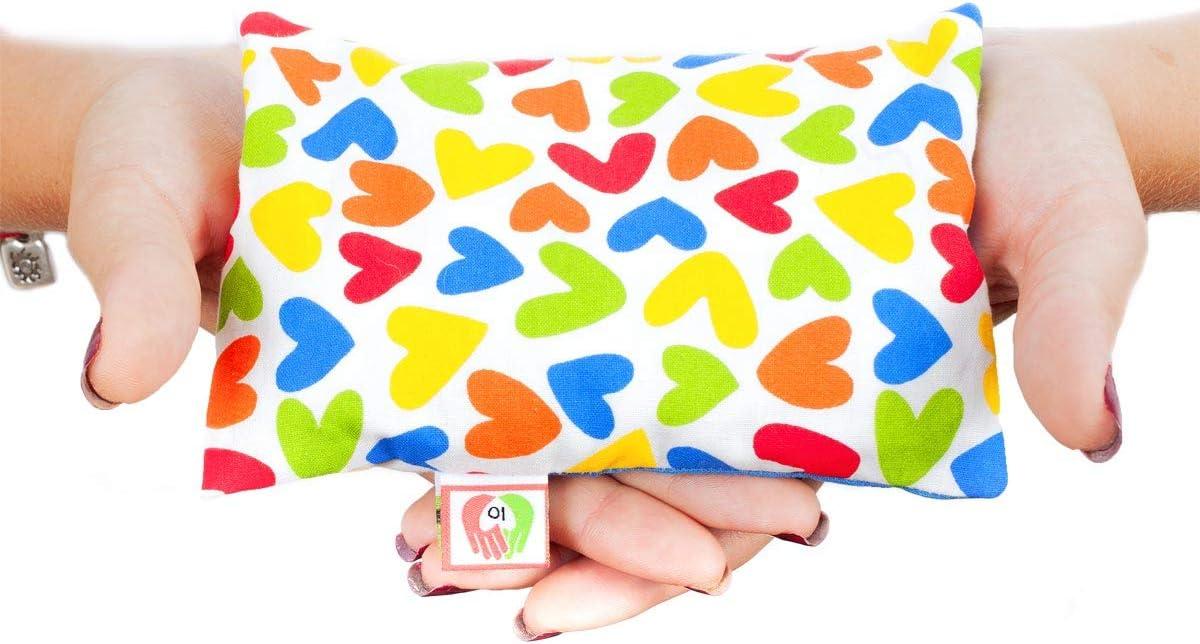 Cojín Anticólicos para Bebés - Saquito Térmico de Semillas Cólicos del Lactante Calentar en Microondas (15x10 cm) - Almohada para Cuna del Recién Nacido, Funda Lavable, Tela Algodón, Olor a Lavanda