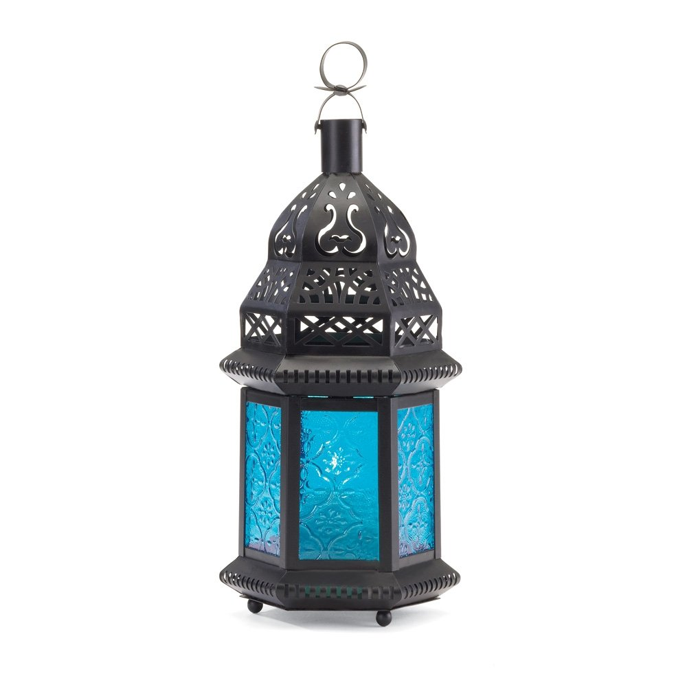 Amazon.com: Gallery of Light Moroccan Lantern Blue Glass Candle ...